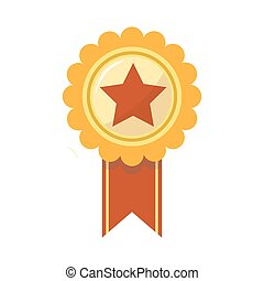Ribbon award of golden star for sport championship prize vector isolated icon
