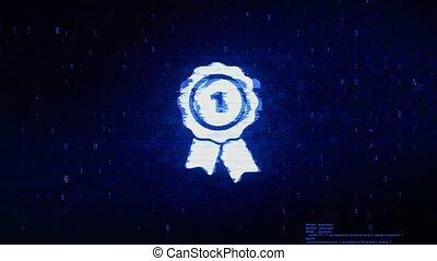 Ribbon Award Symbol Digital Pixel Noise Error Animation.
