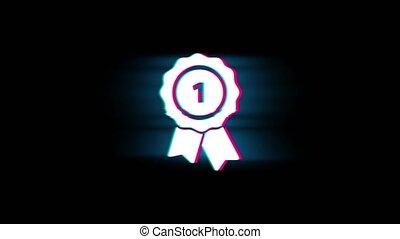Ribbon Award Symbol on Glitch Retro Vintage Animation. -...
