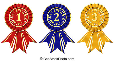 Ribbon awards for first, second and third place on a white background