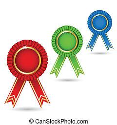 Ribbon Badge - illustration of ribbon badge on isolated...