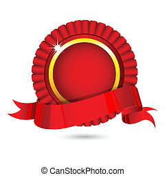 Ribbon Badge - illustration of ribbon badge on white...