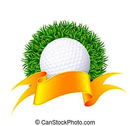 ribbon., balle, golf, or, herbe verte