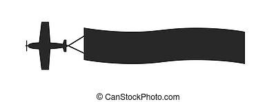 ribbon., banner., aereo, nero, pubblicità, vuoto, aeroplano