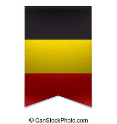 Realistic vector illustration of a ribbon banner with the belgian flag. Could be used for travel or tourism purpose to the country belgium in europe.