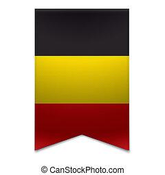 Ribbon banner - belgian flag - Realistic vector illustration...