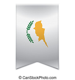 Ribbon banner - cypriot flag - Realistic vector illustration...