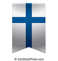 Realistic vector illustration of a ribbon banner with the finnish flag. Could be used for travel or tourism purpose to the country finland in europe.