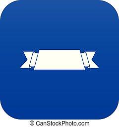 Ribbon banner icon digital blue