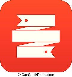 Ribbon banner icon digital red