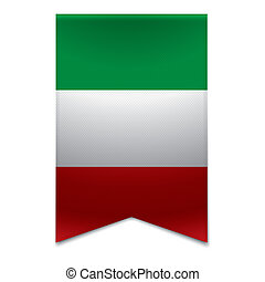 Realistic vector illustration of a ribbon banner with the italian flag. Could be used for travel or tourism purpose to the country italy in europe.