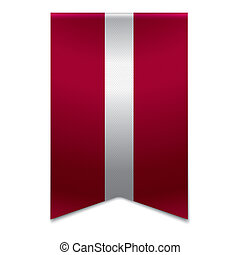 Ribbon banner - latvian flag - Realistic vector illustration...