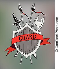 Ribbon banner old emblem with sward