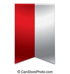 Ribbon banner - polish flag - Realistic vector illustration...