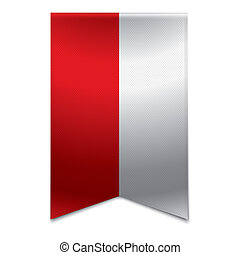 Realistic vector illustration of a ribbon banner with the polish flag. Could be used for travel or tourism purpose to the country poland in europe.