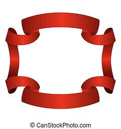 Ribbon banner red frame
