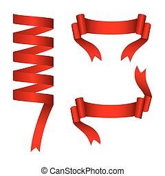 Ribbon banner red set of three