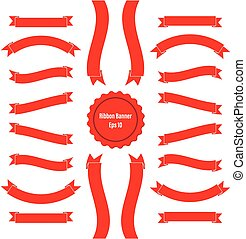 Ribbon Banner Set 2 Red