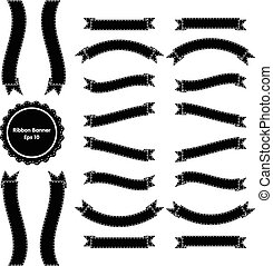 Ribbon Banner Set 3 Black and White