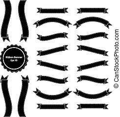 Ribbon Banner Set 3 Black and White