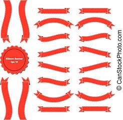 Ribbon Banner Set 3 Red