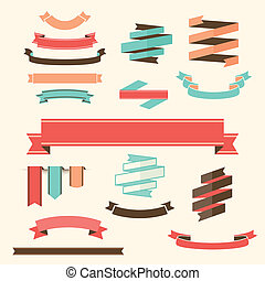 Ribbon Banner Set Vector design elements