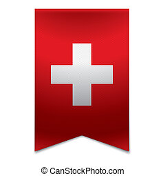 Ribbon banner - swiss flag - Realistic vector illustration ...