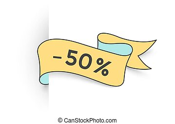 Ribbon banner with text 50 percent for discount
