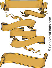 ribbon banners engravin style. Color