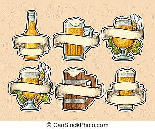 ribbon., birra, colorare, vendemmia, differente, vettore, incisione, occhiali, set