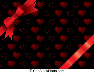 ribbon black heart - Valentines day gift with heart motifs...