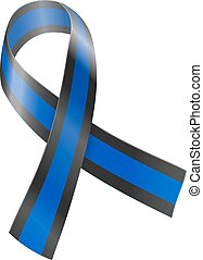 Ribbon - Blue and black ribbon. Concern of Police Survivors...