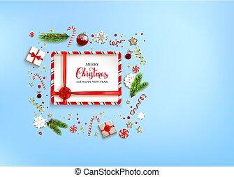 Ribbon Blue holiday Christmas - Blue flat lay Christmas...