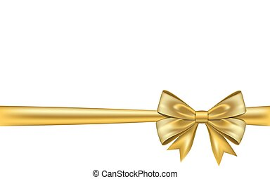 Ribbon bow gift, isolated white background. Satin gold ...