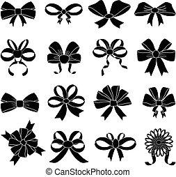 ribbon bow icons set - ribbon bow vector icons set in black.