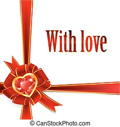 ribbon bow with ruby heart