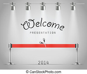 ribbon., brillante, vector, plantilla, photorealistic, presentación, proyectores, rojo, etapa