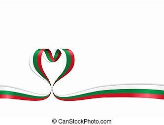 ribbon., bulgare, forme coeur, illustration., drapeau, ...