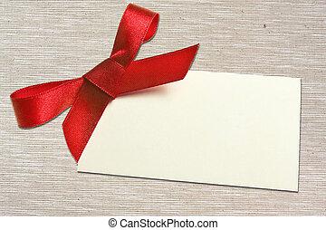 ribbon., cadeau, attaché, arc, étiquette, vide, satin,...