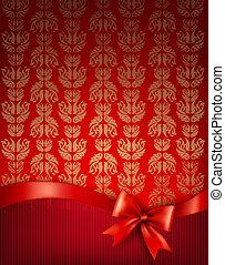 ribbon., cadeau, illustratie, boog, vector, glanzend, achtergrond, vakantie
