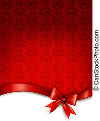 ribbon., cadeau, illustration, arc, vecteur, lustré, fond, vacances