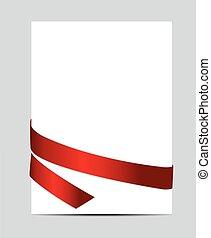ribbon., cadeau, illustration, vecteur, carte rouge