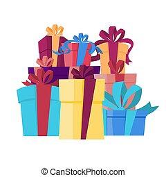 ribbon., caixas, pilha, presente, grande