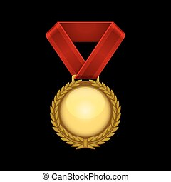 ribbon., campeão, ouro, vetorial, medalha, vermelho