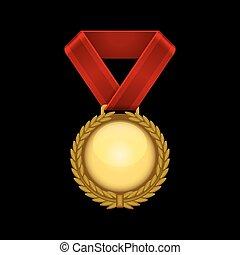 ribbon., champion, or, vecteur, médaille, rouges