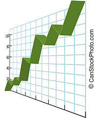 Ribbon charts high growth business data graph - A green ...