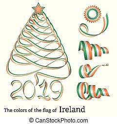 Ribbon Christmas tree colors of Ireland