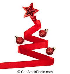Ribbon christmas tree isolated