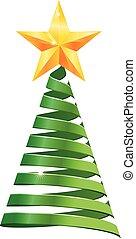Ribbon Christmas tree vector icon