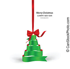 Ribbon christmas tree, vector illustration.
